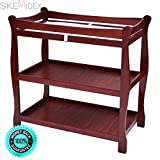 SKEMiDEX---Cherry Sleigh Style Baby Changing Table Infant Newborn Nursery Diaper Station. Two small baskets for baby's toiletries, socks and other small items