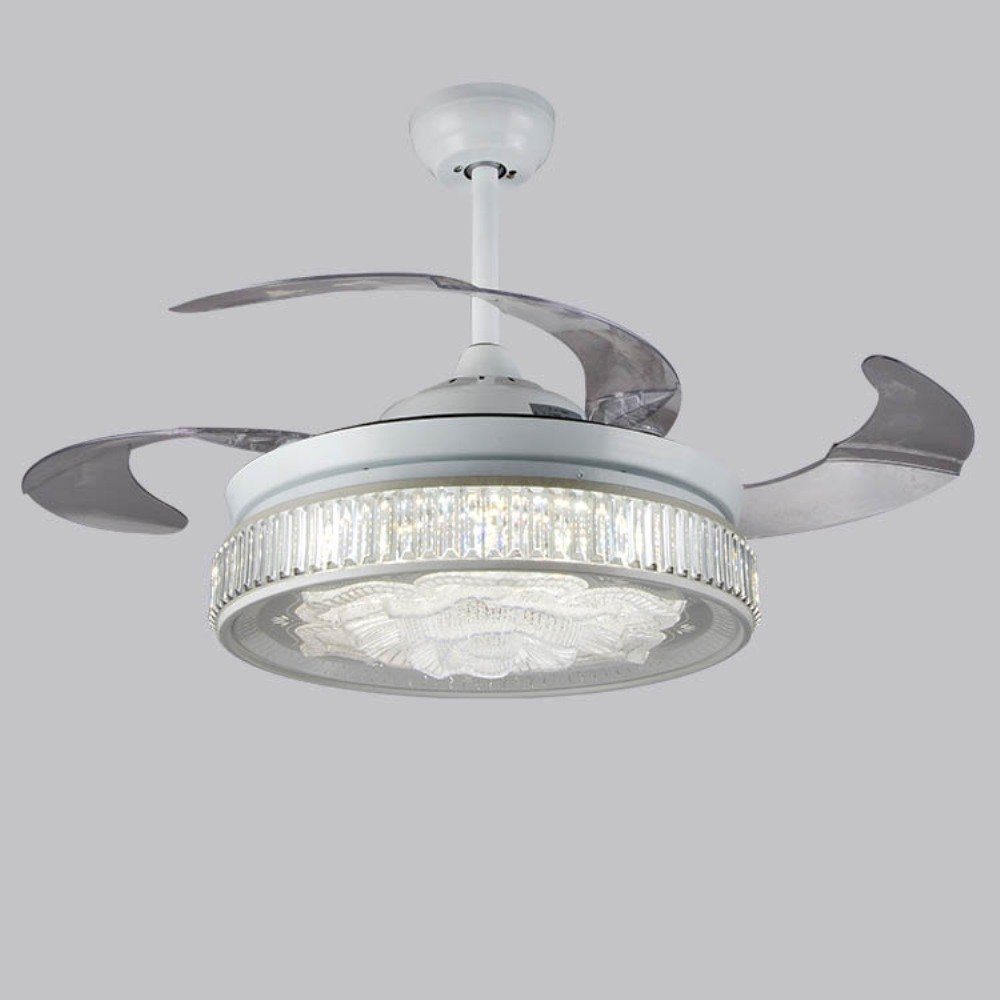 Rs lighting led light fixture ceiling fan lights for living room bedroom remote control with transparent blades ceiling fan invisible fan chandeliers
