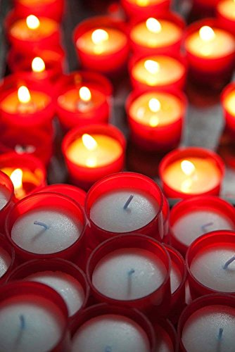 Votive Candles in a Cathedral, Como Cathedral, Lombardy, Italy by Panoramic Images Art Print, 13 x 20 inches - Cathedral Candle Votive