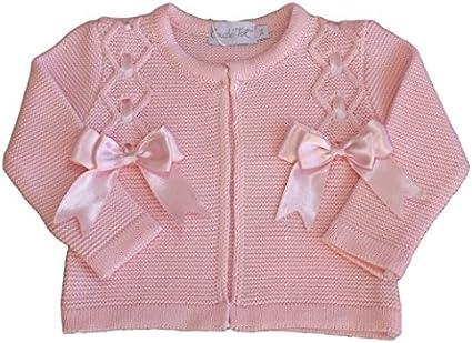 Baby bolero cardigan BOWS girls spanish style christening wedding 3-6 MONTHS PINK