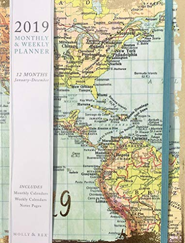 Punch Studio 2019 Weekly Planner with Bungee Closure ~ World Map 19353
