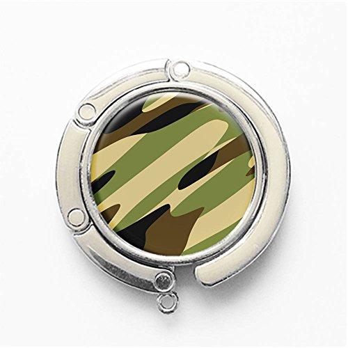RhyNSky Digital ACU Military Camo Pattern Round Folding Foldable Handbag Hook Purse Hanger Holder for Table & Desk, C306