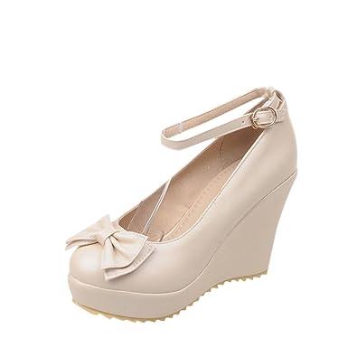 179a28ac45b Carolbar Women's Ankle Strap Buckle Bows Sweet Date Lolita Elegance  Platform Wedge Heel Dress Shoes