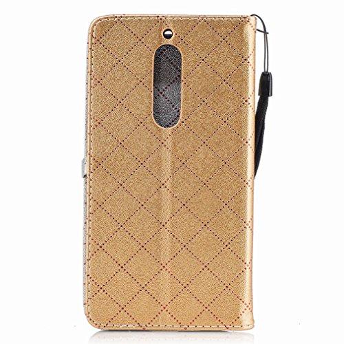 Yiizy Nokia 5 Custodia Cover, Amare Design Sottile Flip Portafoglio PU Pelle Cuoio Copertura Shell Case Slot Schede Cavalletto Stile Libro Bumper Protettivo Borsa (Dorato)
