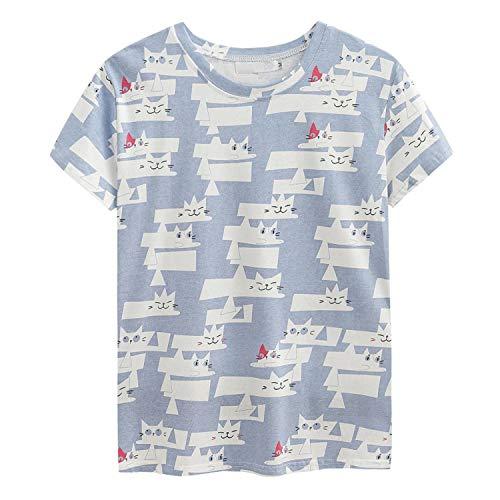 (New Cotton Women T Shirt Dog Print Casual Summer Tees Short Sleeve Cartoon Tops T504 Light Blue XL)