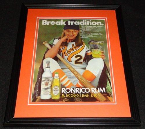 1983 Ronrico Rum & Rose's Lime Juice Framed 11x14 ORIGINAL Advertisement