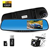 THINKSOGOOD 4.3 Inch HD Mirror Dash Cam, Driving Recorder with 170° Wide Angle Lens, HD 1080P Front and Rear Camera for Car with Parking Monitor, G-Sensor & 8G Micro SD Card