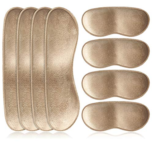 Dr. Shoesert Heel Cushion Inserts Self-Adhesive Heel Grips Liner Pads for Loose Shoes, Thicken Foam Heel Protectors Preventing Heel Slipping, Rubbing, Blisters (Beige)