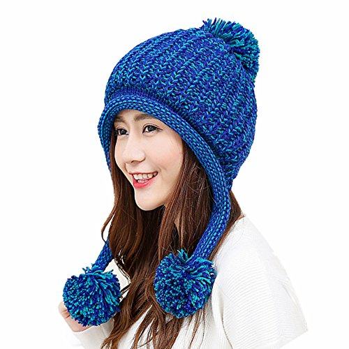 HUAMULAN Women Winter Skull Beanie Hat Peruvian Ski Ear Flaps Fleece Lined Caps Dual Layered Pompoms,Blue