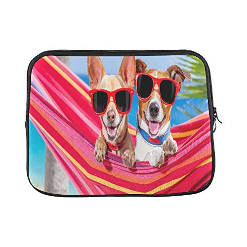 Design Custom Couple Two Dogs Relaxing On Fancy Sleeve Soft Laptop Case Bag Pouch Skin for MacBook Air 11