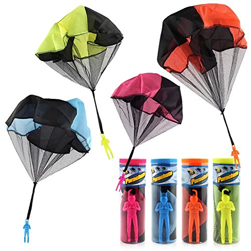 Tangle Free Throwing Toy Parachute,Toss It Up and watch Landing Figures&Hand Throw Solider Man|Square Outdoor(4PCS) by Eebuy