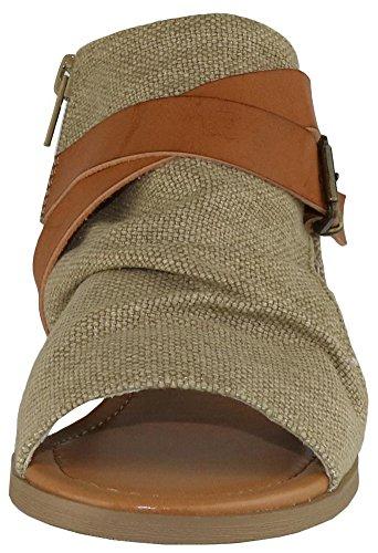 Cambridge Utvalgte Kvinner Krysser Strappy Spenne Cutout Stablet Kile Sandal Naturlig