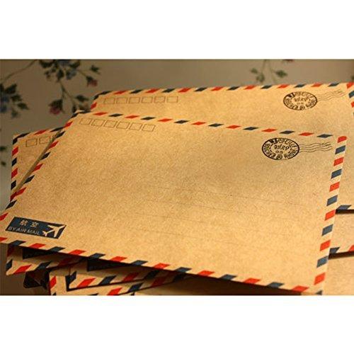 (10pcs Hot Beauty Antique Coffee Distinctive kraft Air Mail Retro Postcard Envelope Stationary Paper Xmas Gift)