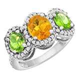 10K White Gold Natural Citrine & Peridot 3-Stone Ring Oval Diamond Accent, sizes 5 - 10