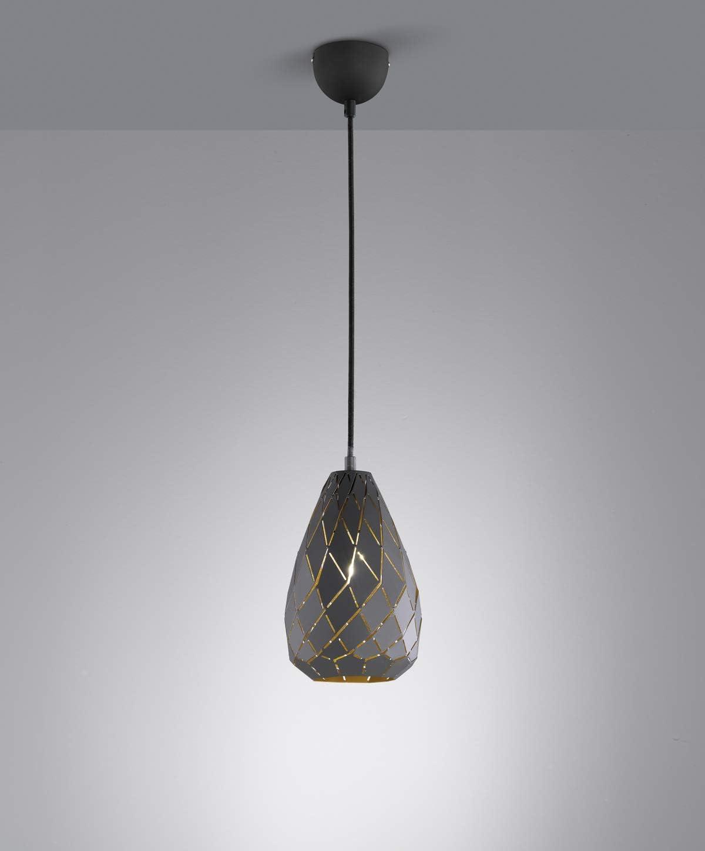 Kabel gewebeummantelt schwarz anthrazit // innen goldfarbig Trio Leuchten Pendelleuchte Onyx 301300142 Metall