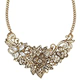 Ever Faith Crystal Vintage Inspired Lace Fleur-de-lis Flower Filigree Necklace Antiqued Gold-Tone Clear N02798-1