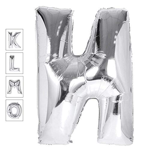 Lovne 40 Inch Jumbo Silver Alphabet N Balloon Giant Prom Balloons Helium Foil Mylar Huge Letter Balloons A to Z for Birthday Party Decorations Wedding Anniversary
