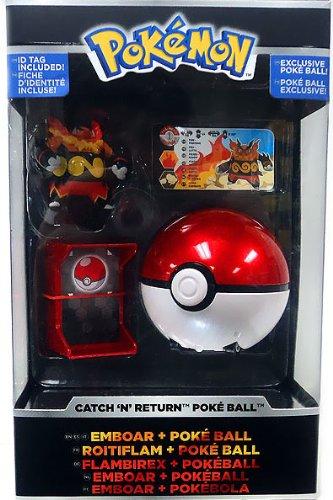 Pokemon TOMY Catch 'n' Return Poke Ball Emboar & Poke Ball