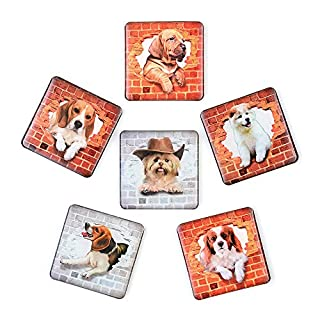 SUPCOOKI 6pcs Beautiful Glass Refrigerator Magnets Decorative Magnets 3D Dog Funny Fridge Magnet Stickers Cute Home Decoration Funny for Office Cabinets Whiteboards Photo Abstract