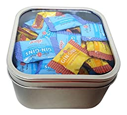 Ginger Candy Tin Box With Window: Mixed Hard Double Strength And Super Strength Caramel