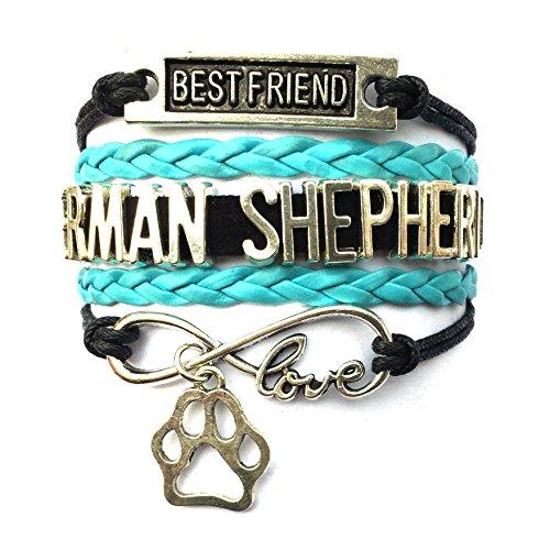(DOLON Braided German Shepherd Bracelet Best Friend Dog Paw Charm-Black with Blue)