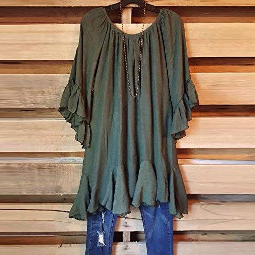 Womens Fashion Boho Ruffle Loose Shirts Butterfly Sleeve Irregular Tops Blouse