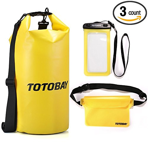 20L Waterproof Dry Bag 3 Pcs Set, TOTOBAY Roll Top Dry Sack w/ Free Waist Pouch & Phone Case - Keeps Gear Dry for Rafting, Kayaking, Beach, Boating, Hiking, Camping - To List Of Camping Things Bring