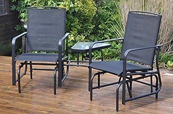 garden mile outdoor 2 seater black garden glider love seat with rh amazon co uk Swing Chair Porch Swing Chair