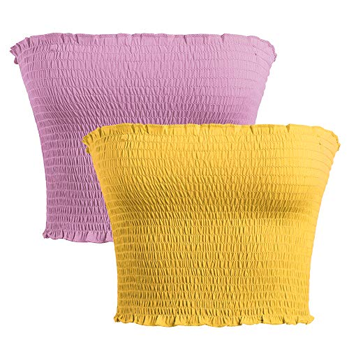 GATHY Women's Strapless Pleated Sexy Tube Crop Tops (Small/Medium, Two Colors-Mauve -Yellow) ()