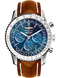 Navitimer 01 Stainless Steel on Brown Leather Strap Men's Watch AB012721/C889-443X