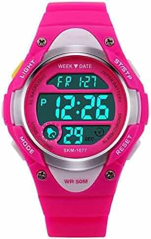 Children Watch Outdoor Sports Kids Girls Boys LED Digital Alarm Waterproof Wristwatch Pink