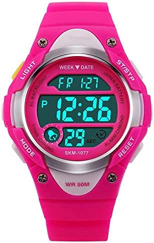 Children Watch Outdoor Sports Kids Girls Boys LED Digital Alarm Waterproof Wristwatch Pink