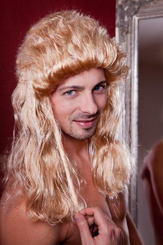 Vokuhila Perücke Männerperücke Matte Blond 80er Jahre Frisur