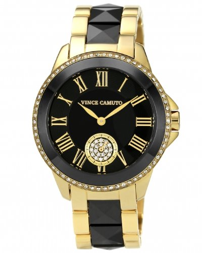 Vince Camuto Women's VC/5046BKGB Round Swarovski Crystal Accented Gold-Tone Black Ceramic Bracelet Watch