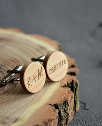 Cufflinks for men wood with Monogram round Gift Wooden Cufflinks Engraved Custom Business Man Gift for Guy Jewelry for Men Fathers Day gift for Boss Great Wedding idea by Enjoy the wood ()