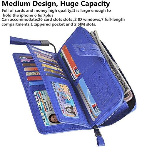 Bosiw Woman RFID Blocking Trifold Wallet Clutch Credit Card Organizer Travel Purse (Blue) Pebble Grain Tri Fold Wallet