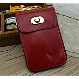 Big Mango Multipurpose Cute Mini Two Separated Pouches Fashion Cell Phone PU Leather Bag Crossbody Purse for Apple Iphone 6,4 4s,5 5s,5c, Samsung Galaxy Series,Note 2 Note 3,HTC Money Key Cards with Long Shoulder Strap & Safe Lock Buttom Closure -Claret-red