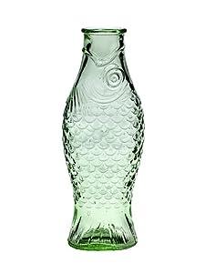 Flasche in Fischform, Wasserkaraffe in Fischform, Glas, transparent und außerdem in der Farbe Grün, 1 Liter, 1l Karaffe kaufen, Glaskaraffe Fisch.