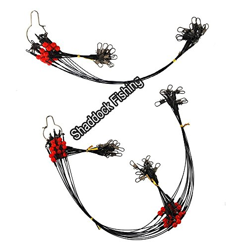 Shaddock Fishing 12pcs/bags Stainless Steel Fishing Leader Wire Rigs Trace with Swivels,Snaps,Beads, Arms Fishing Lure Tackle Leaders Rigging (21.7inch wirh 2 (Flounder Fishing Rigs)