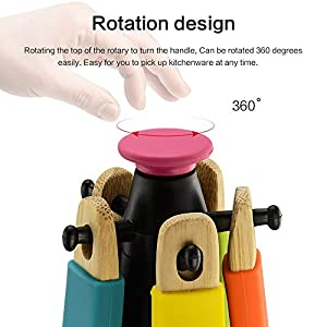 Mystery Bamboo Kitchen Tool 6Pcs Set with Rotating Storage Stand, Perfect for Nonstick Pans and Cookware, Natural and Eco-friendly - Bamboo Kitchen Tools