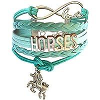 Horse Bracelet Gift for Girls, Horse Jewelry, Infinity Bracelet Horse Charm, Gift Wrapped, Girls Gifts,Teen Girl Gifts for pony loving girls, Birthday gifts for girls, horse gifts