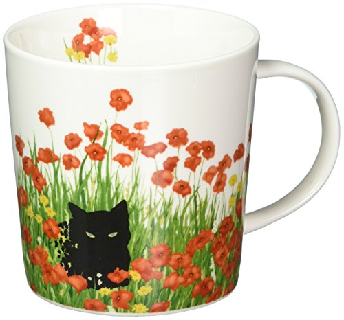 Paperproducts Design PPD 603337 Black Cat Poppies Mug in Gift Box, 13.5oz, Multicolor