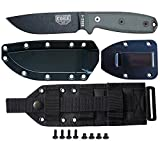 ESEE Knives Model 4P-MB Fixed Blade Knife (Black) with Black Sheath, Belt Clip Plate, and Cordura MOLLE Back