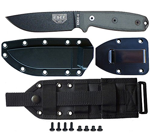 Molle Back Sheath - ESEE Knives Model 4P-MB Fixed Blade Knife (Black) with Black Sheath, Belt Clip Plate, and Cordura MOLLE Back