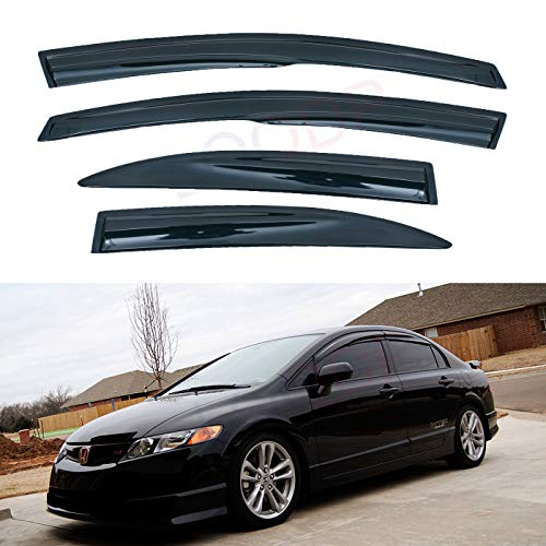 LQQDP Set of 4 JDM 3D Wavy MU Style Front+Rear Smoke Sun/Rain Guard Outside Mount Tape-On Acrylic Window Visors For 06-11 Honda Civic 4-Door Sedan ()