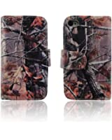 Autumn Camo Tree Wallet Purse clutch Handbag iPhone 5 5s Case Cover Clear Slot for ID,Credit Card,Cash