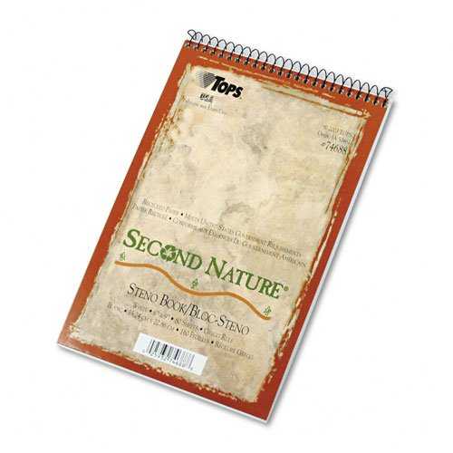 Tops Second Nature Spiral - TOPS : Second Nature Spiral Reporter/Steno Notebook, Gregg Rule, 6x9, WE, 80-Sheet -:- Sold as 2 Packs of - 1 - / - Total of 2 Each