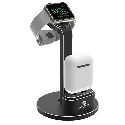 ATOPHK 2 en 1 Aluminio Estar Cargando Muelle Estación Compatible para Apple Airpods Inalámbrico Bluetooth Auricular
