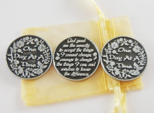 Pocket Token Gods (Set of 3 One Day at a Time / Serenity Prayer Pocket Tokens with Organza Bag)