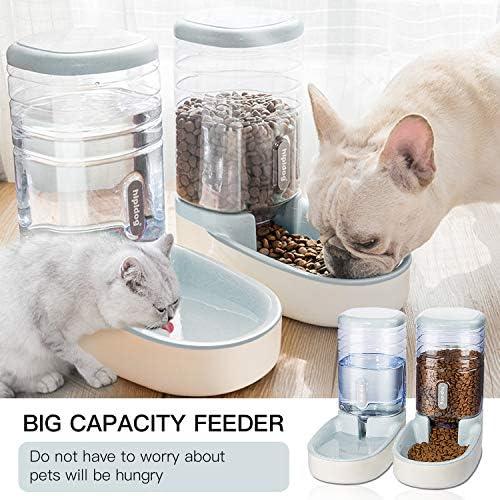UniqueFit - Comedero automático para Mascotas, Gatos, Perros y Gatos, 3,8 l, con 1 dispensador de Agua y 1 alimentador automático para Mascotas 7